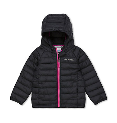 Powder Lite™ Kapuzenjacke für Kinder - Mädchen Powder Lite™ Girls Hooded Jacket | 356 | 2T, Black, front