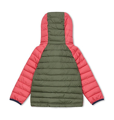 Powder Lite™ Kapuzenjacke für Kinder - Mädchen Powder Lite™ Girls Hooded Jacket | 356 | 2T, Cypress, Wild Salmon, back