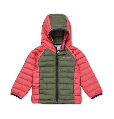 Powder Lite™ Kapuzenjacke für Kinder - Mädchen Powder Lite™ Girls Hooded Jacket | 356 | 2T, Cypress, Wild Salmon, front