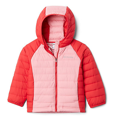 Powder Lite™ Kapuzenjacke für Kinder - Mädchen Powder Lite™ Girls Hooded Jacket | 356 | 2T, Red Lily, Pink Orchid, front