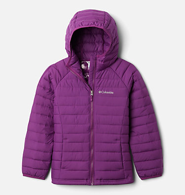 Girls' Powder Lite™ Hooded Jacket Powder Lite™ Girls Hooded Jacket | 658 | XXS, Plum, front