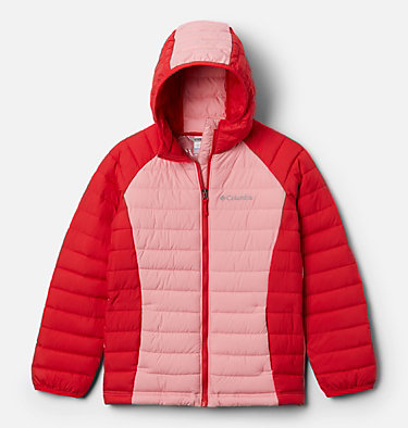 Girls' Powder Lite™ Hooded Jacket Powder Lite™ Girls Hooded Jacket | 658 | XXS, Red Lily, Pink Orchid, front