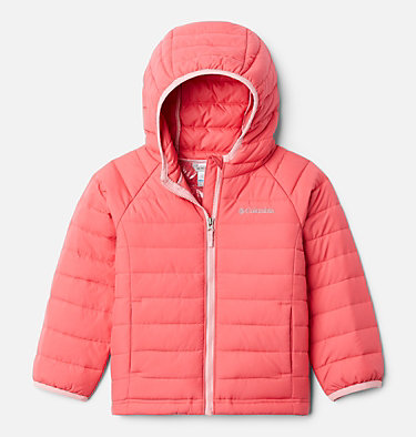 Girls' Toddler Powder Lite™ Hooded Jacket Powder Lite™ Girls Hooded Jacket | 410 | 4T, Bright Geranium, front