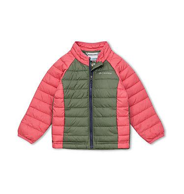 Veste Powder Lite Fille Powder Lite™ Girls Jacket | 695 | 2T, Cypress, Wild Salmon, front