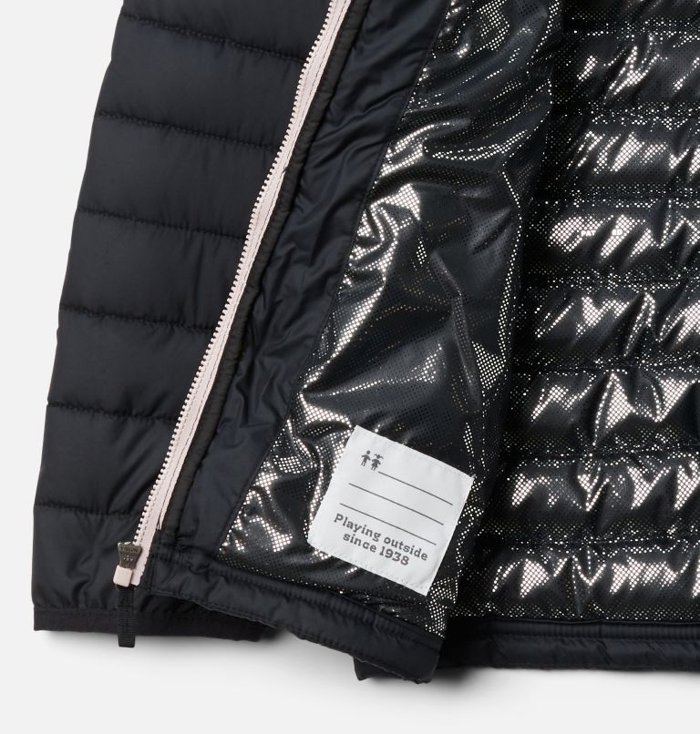 Powder Lite™ Girls Jacket | 012 | M Girls' Powder Lite Jacket, Black, Mineral Pink, a1