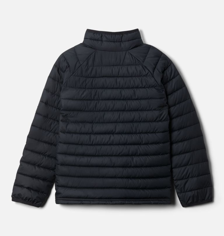 Powder Lite™ Girls Jacket | 012 | XXS Girls' Powder Lite Jacket, Black, Mineral Pink, back
