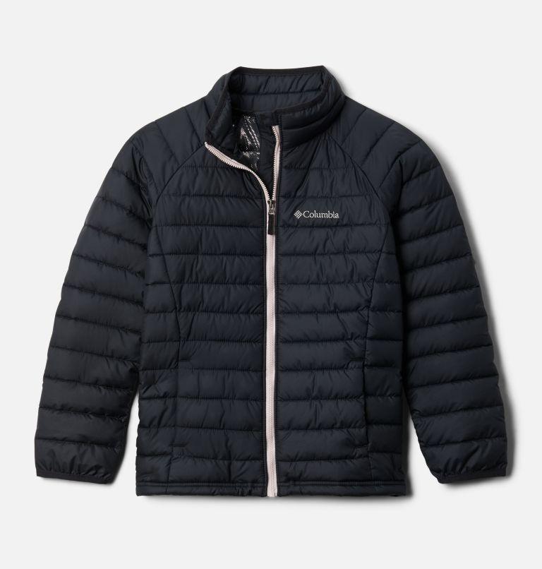 Powder Lite™ Girls Jacket | 012 | XXS Girls' Powder Lite Jacket, Black, Mineral Pink, front