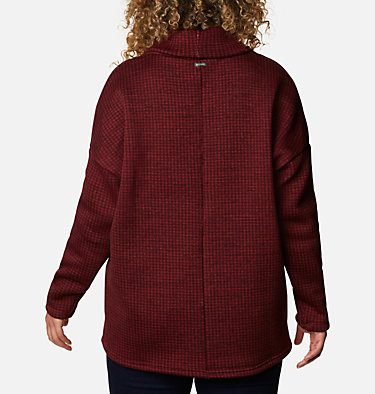 Women's Chillin™ Fleece Pullover - Plus Size Chillin™ Fleece Pullover | 192 | 1X, Marsala Red Houndstooth Print, back