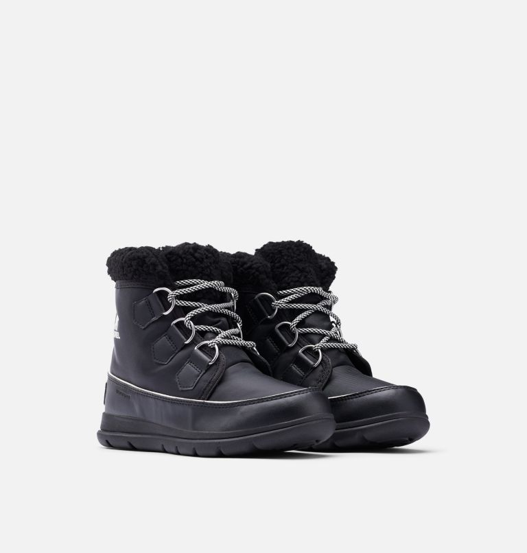 SOREL™ EXPLORER CARNIVAL | 010 | 7.5 Women's Sorel™ Explorer Carnival Boot, Black, Sea Salt, 3/4 front