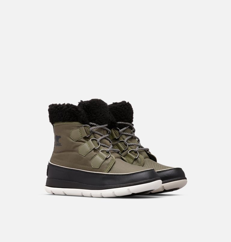 SOREL™ EXPLORER CARNIVAL | 371 | 6.5 Women's SOREL™ Explorer Carnival Boot, Hiker Green, Black, 3/4 front