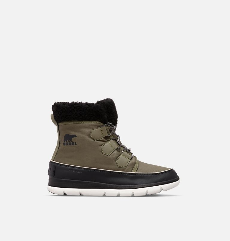 SOREL™ EXPLORER CARNIVAL | 371 | 6.5 Women's SOREL™ Explorer Carnival Boot, Hiker Green, Black, front