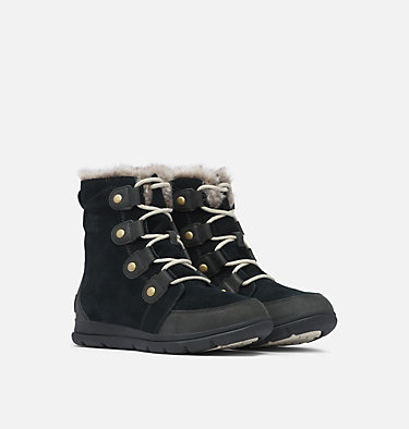 Sorel™ Explorer Joan Stiefel für Frauen SOREL™ EXPLORER JOAN | 282 | 7, Black, Dark Stone, 3/4 front
