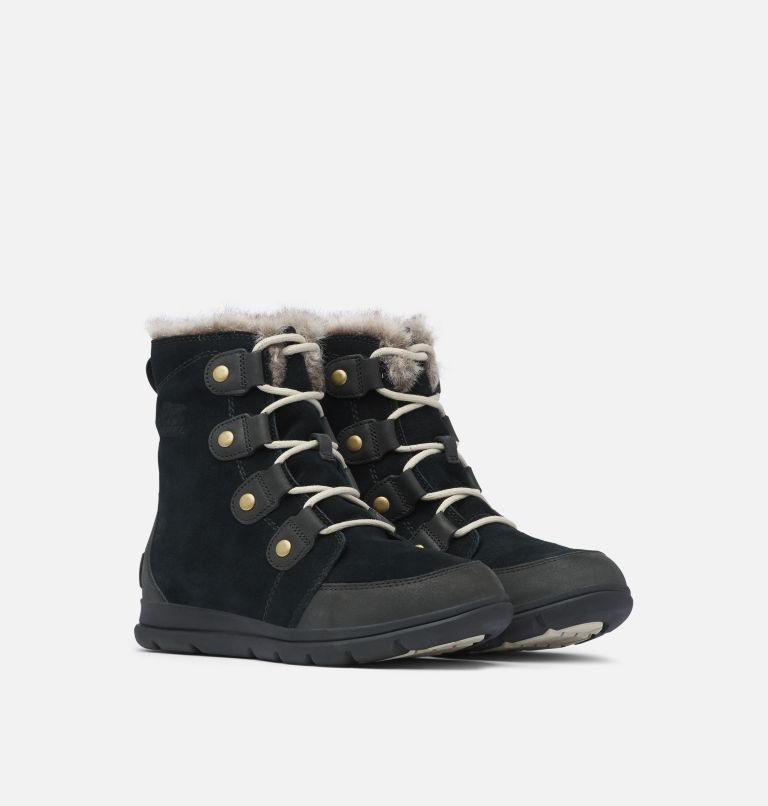 SOREL™ EXPLORER JOAN | 010 | 7 Women's Sorel Explorer™ Joan Boot, Black, Dark Stone, 3/4 front