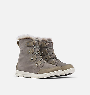 Women's Sorel Explorer™ Joan Boot SOREL™ EXPLORER JOAN | 052 | 10, Quarry, Black, 3/4 front