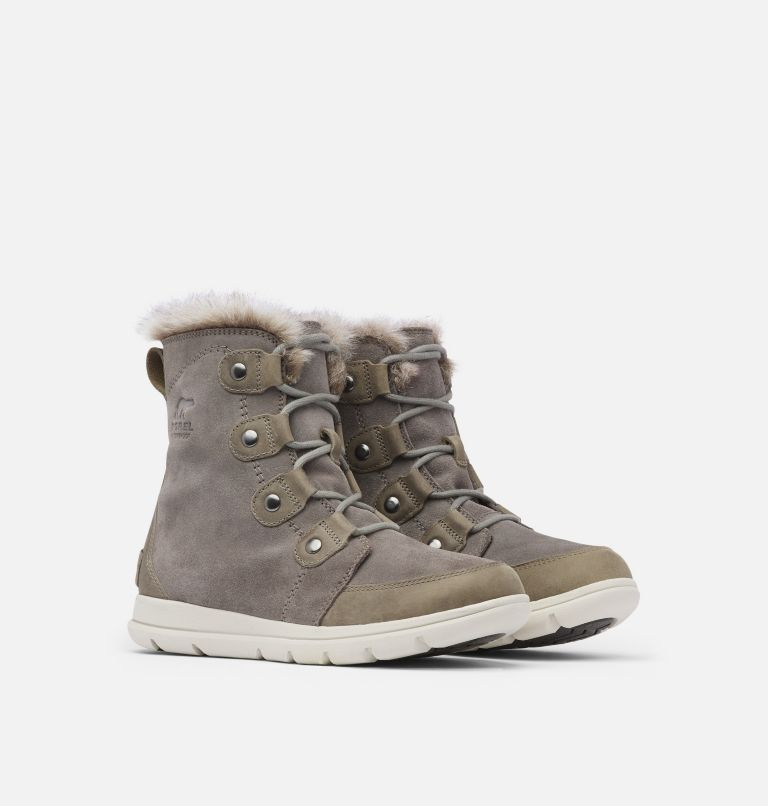 SOREL™ EXPLORER JOAN | 052 | 7.5 Women's Sorel Explorer™ Joan Boot, Quarry, Black, 3/4 front