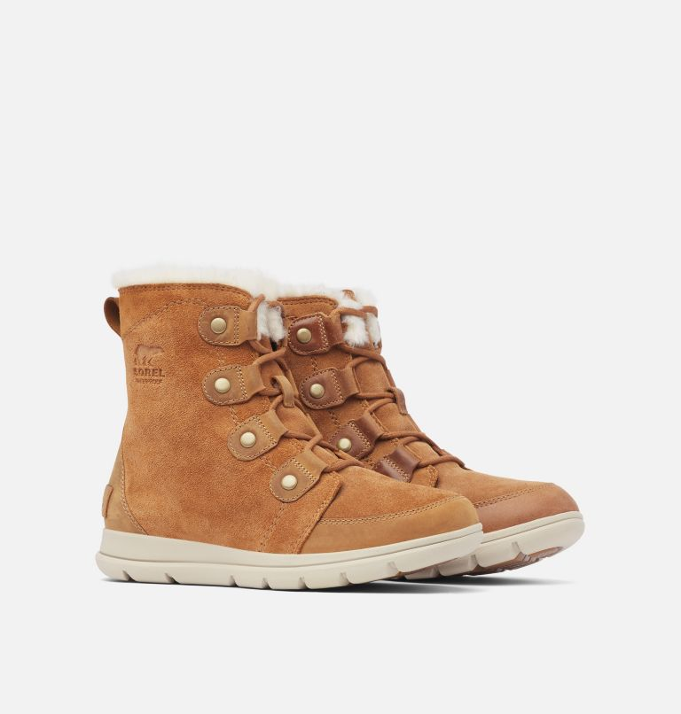 SOREL™ EXPLORER JOAN | 224 | 5.5 Women's Sorel Explorer™ Joan Boot, Camel Brown, Ancient Fossil, 3/4 front