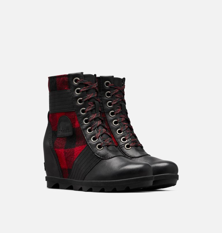LEXIE™ WEDGE | 010 | 6.5 Women's Lexie™ Wedge Boot, Black, Red Plaid, 3/4 front