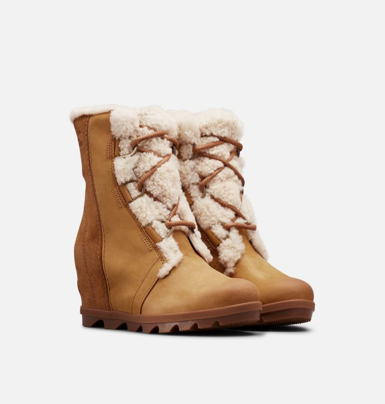 JOAN OF ARCTIC™ WEDGE II SHEAR | 224 | 7.5 Women's Joan of Arctic™ Wedge II Shearling Boot, Camel Brown, 3/4 front