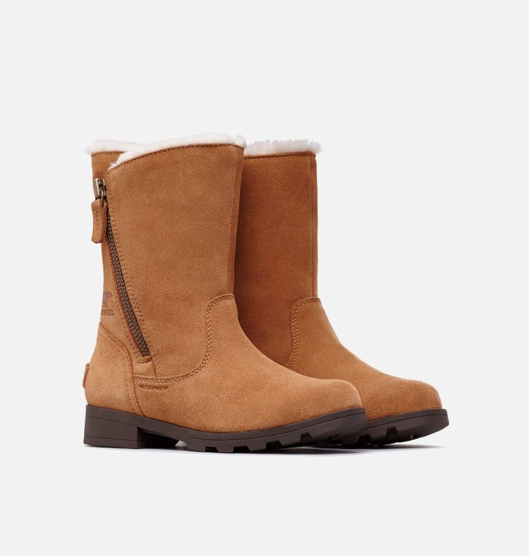 YOUTH EMELIE™ FOLD-OVER | 224 | 4.5 Youth Emelie™ Fold-Over Boot, Camel Brown, Natural, 3/4 front