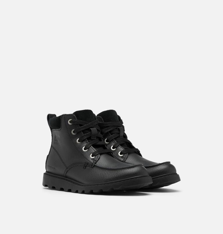 YOUTH MADSON™ MOC TOE WATERPROOF | 011 | 4 Youth Madson™ Moc Toe Boot, Black, Black, 3/4 front