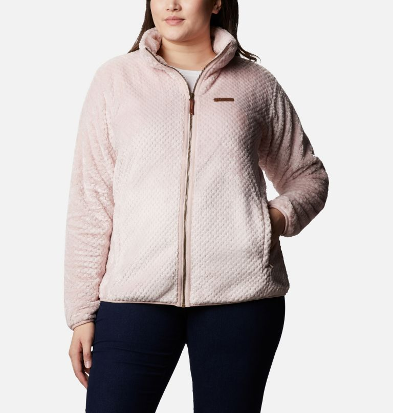 Fire Side™ II Sherpa FZ | 618 | 1X Women's Fire Side™ II Plush Full Zip Fleece - Plus Size, Mineral Pink, front