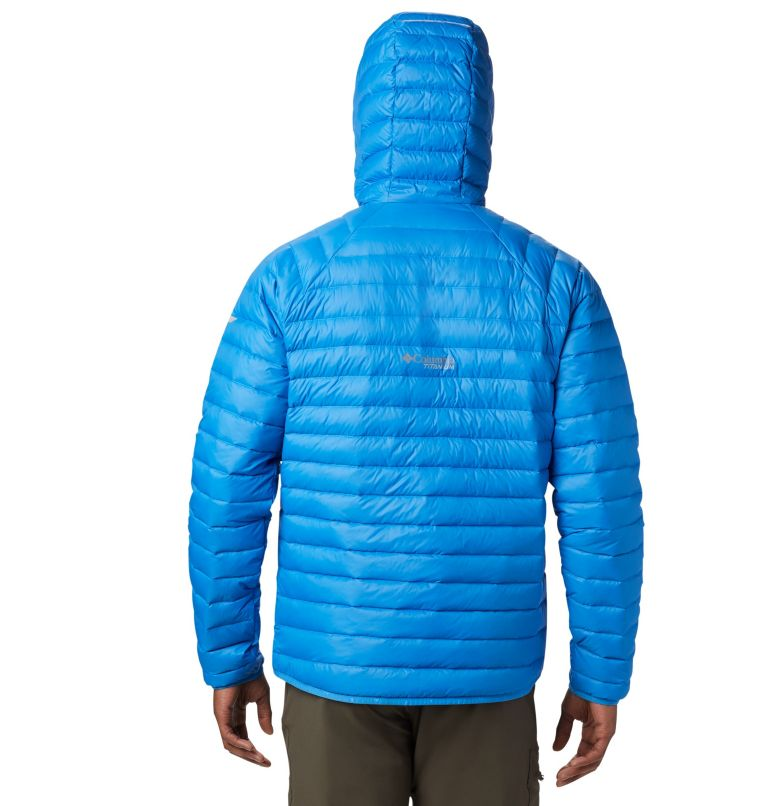 Alpha Trail™ Down Hooded Jacke | 463 | S Men's Alpha Trail™ Hooded Down Jacket, Azure Blue, back