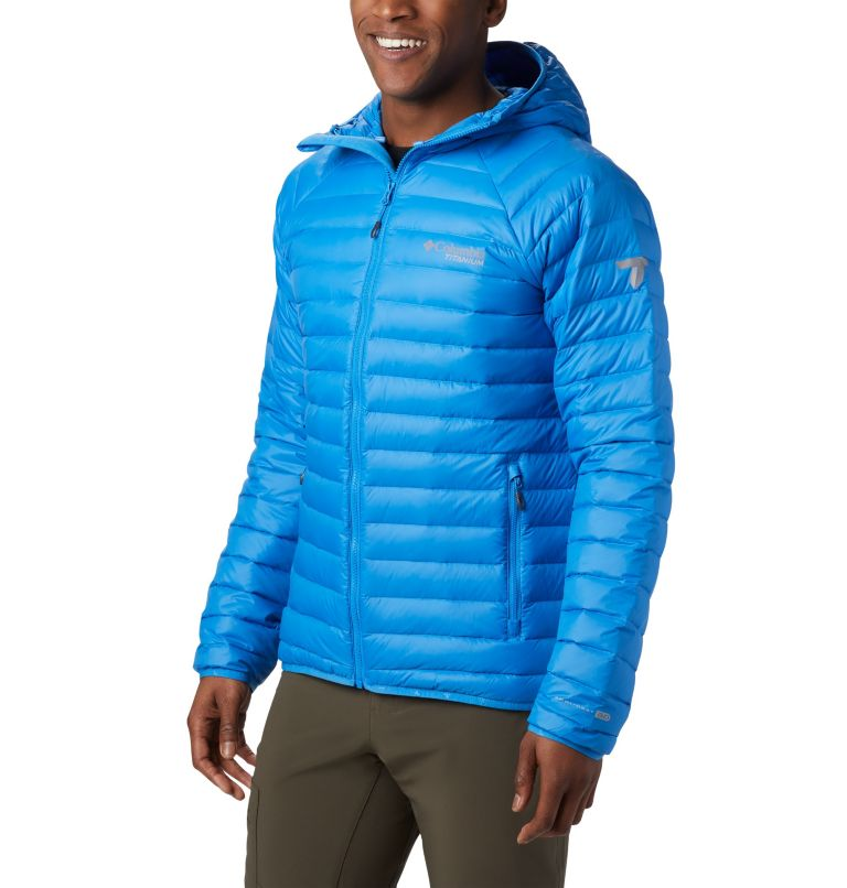 Alpha Trail™ Down Hooded Jacke | 463 | S Men's Alpha Trail™ Hooded Down Jacket, Azure Blue, front