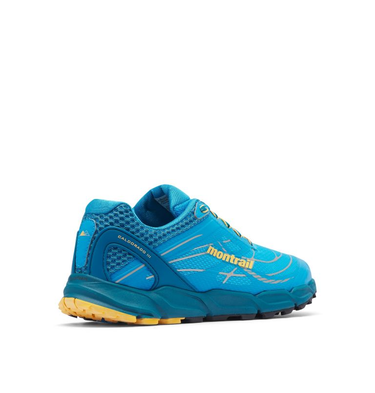 CALDORADO™ III | 463 | 13 Men's Caldorado™ III Trail Running Shoe, Riptide, Honey Yellow, 3/4 back