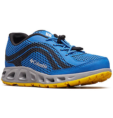 Kids' Drainmaker™ IV Shoe CHILDRENS DRAINMAKER™ IV | 600 | 8, Stormy Blue, Deep Yellow, 3/4 front