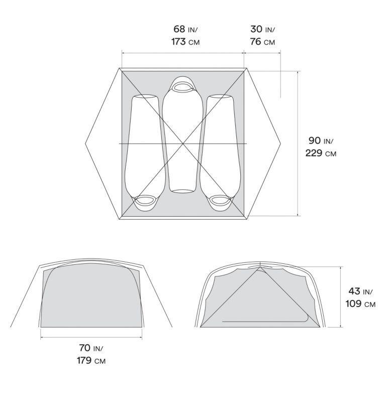 Aspect™ 3 Tent | 063 | O/S Aspect™ 3 Tent, Grey Ice, a10