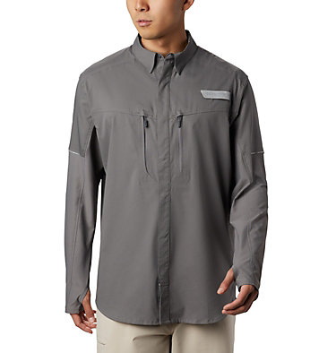Men's PFG Force XII Zero™ Long Sleeve Hybrid Shirt Force XII ZERO™ LS Hybrid | 023 | L, City Grey, front