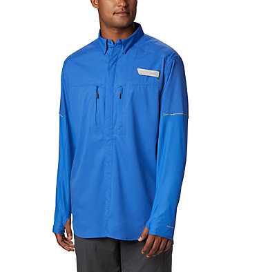 Men's PFG Force XII Zero™ Long Sleeve Hybrid Shirt Force XII ZERO™ LS Hybrid | 023 | L, Vivid Blue, front