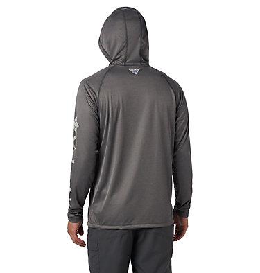 Men's PFG Terminal Tackle™ Heather Hoodie Terminal Tackle™ Heather Hoodie   337   S, Charcoal Heather, Cool Grey Logo, back
