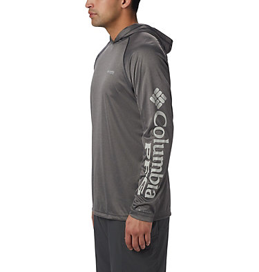 Men's PFG Terminal Tackle™ Heather Hoodie Terminal Tackle™ Heather Hoodie   337   S, Charcoal Heather, Cool Grey Logo, front