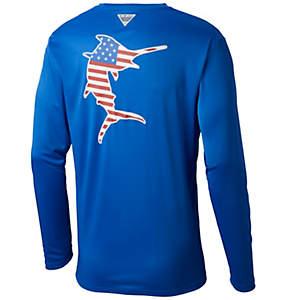 Men's PFG Terminal Tackle Americana Fish™ Long Sleeve Shirt—Tall