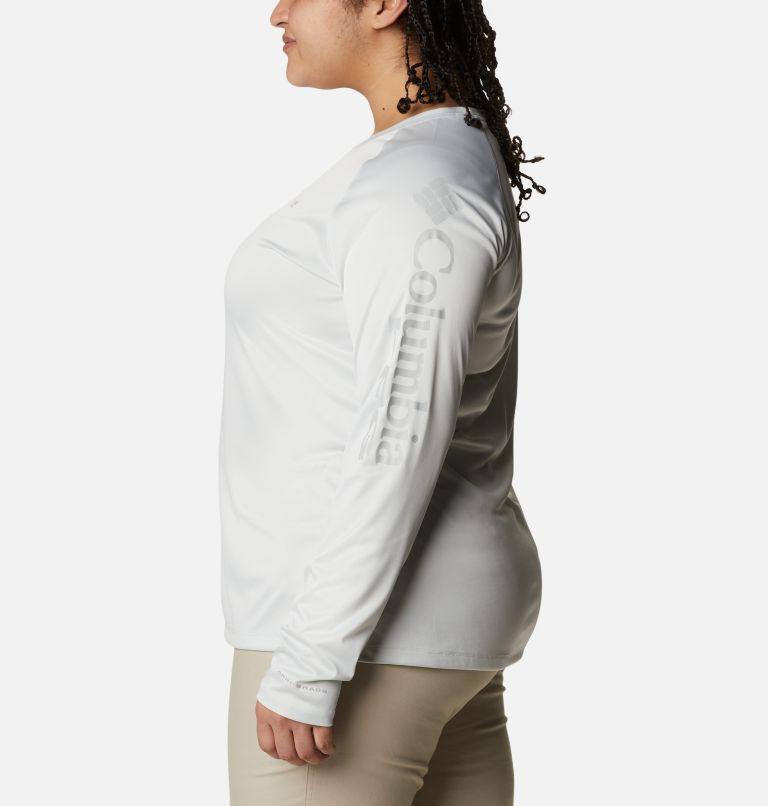 Tidal Tee™ Heather Long Sleeve | 100 | 2X Women's Tidal Tee™ Heather Long Sleeve - Plus Size, White Heather, Cool Grey Logo, a1