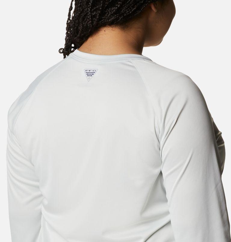 Tidal Tee™ Heather Long Sleeve | 100 | 2X Women's Tidal Tee™ Heather Long Sleeve - Plus Size, White Heather, Cool Grey Logo, a3