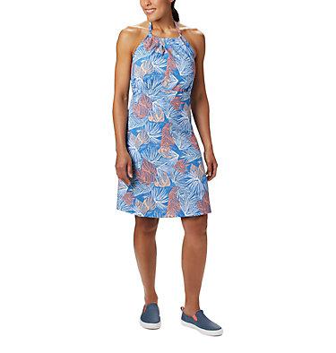 Women's PFG Armadale™ II Halter Top Dress Armadale™ II Halter Top Dress | 426 | L, Stormy Blue Feathery Leaves Print, front