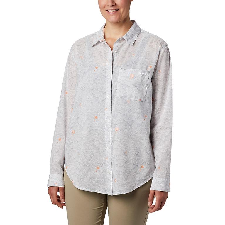 Columbia Womens Standard Pilsner Peak Ombre Stripe Long Sleeve