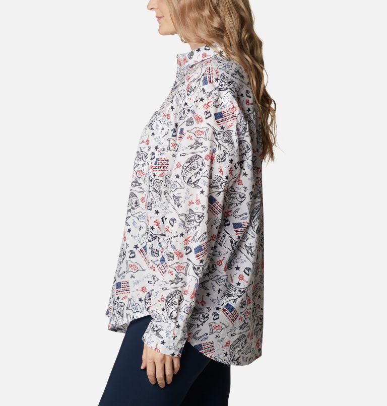 Slack Water™ Woven Long Sleeve Shirt | 101 | 1X Women's Americana PFG Sun Drifter™ II Long Sleeve Shirt - Plus Size, White Americana Fishing Print, a1