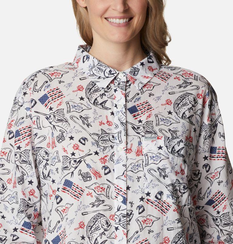 Slack Water™ Woven Long Sleeve Shirt | 101 | 1X Women's Americana PFG Sun Drifter™ II Long Sleeve Shirt - Plus Size, White Americana Fishing Print, a2