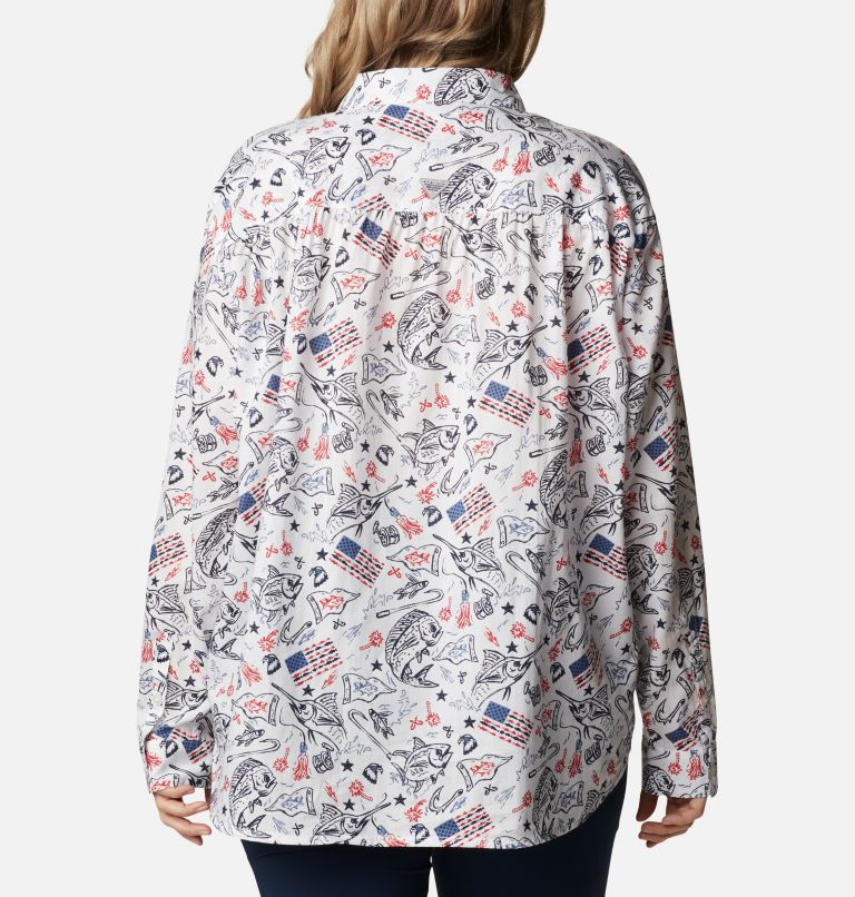 Slack Water™ Woven Long Sleeve Shirt | 101 | 1X Women's Americana PFG Sun Drifter™ II Long Sleeve Shirt - Plus Size, White Americana Fishing Print, back