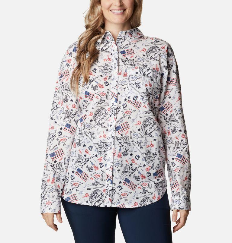 Slack Water™ Woven Long Sleeve Shirt | 101 | 1X Women's Americana PFG Sun Drifter™ II Long Sleeve Shirt - Plus Size, White Americana Fishing Print, front