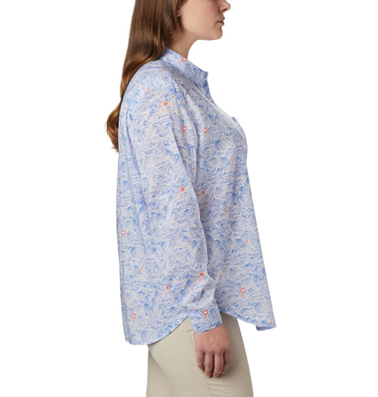 Sun Drifter™ II Long Sleeve Shirt | 426 | 1X Women's PFG Sun Drifter™ II Long Sleeve Shirt - Plus Size, Stormy Blue Buoy Waves Print, a1