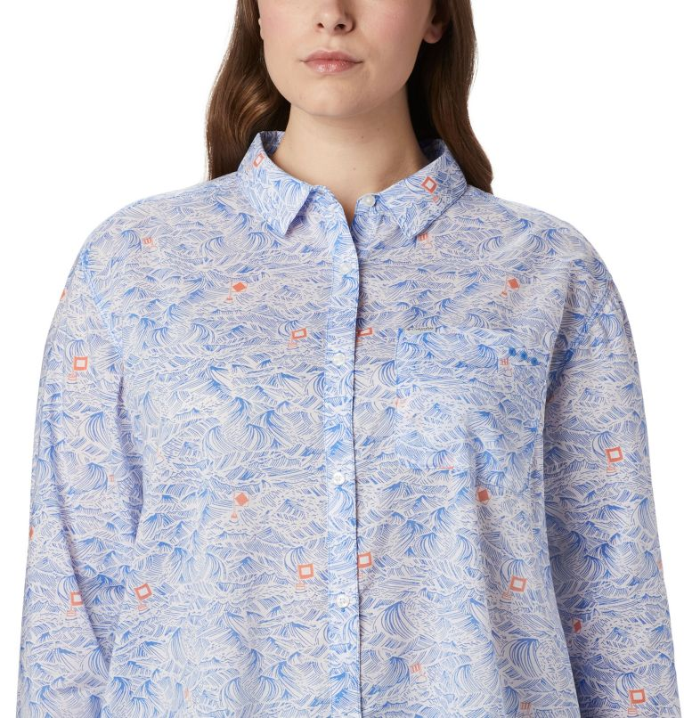 Sun Drifter™ II Long Sleeve Shirt | 426 | 1X Women's PFG Sun Drifter™ II Long Sleeve Shirt - Plus Size, Stormy Blue Buoy Waves Print, a2