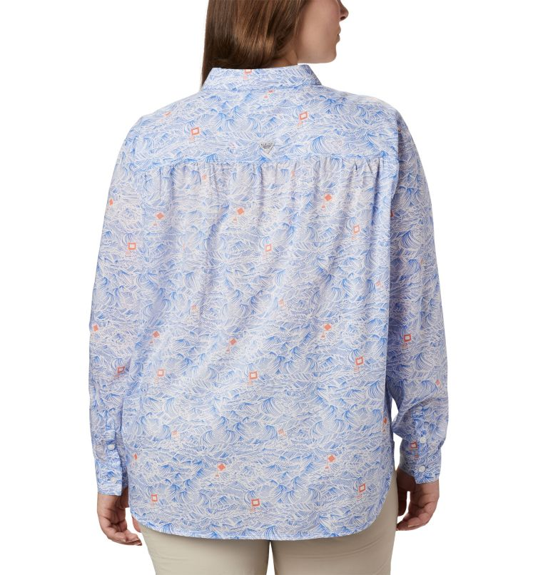Sun Drifter™ II Long Sleeve Shirt | 426 | 1X Women's PFG Sun Drifter™ II Long Sleeve Shirt - Plus Size, Stormy Blue Buoy Waves Print, back