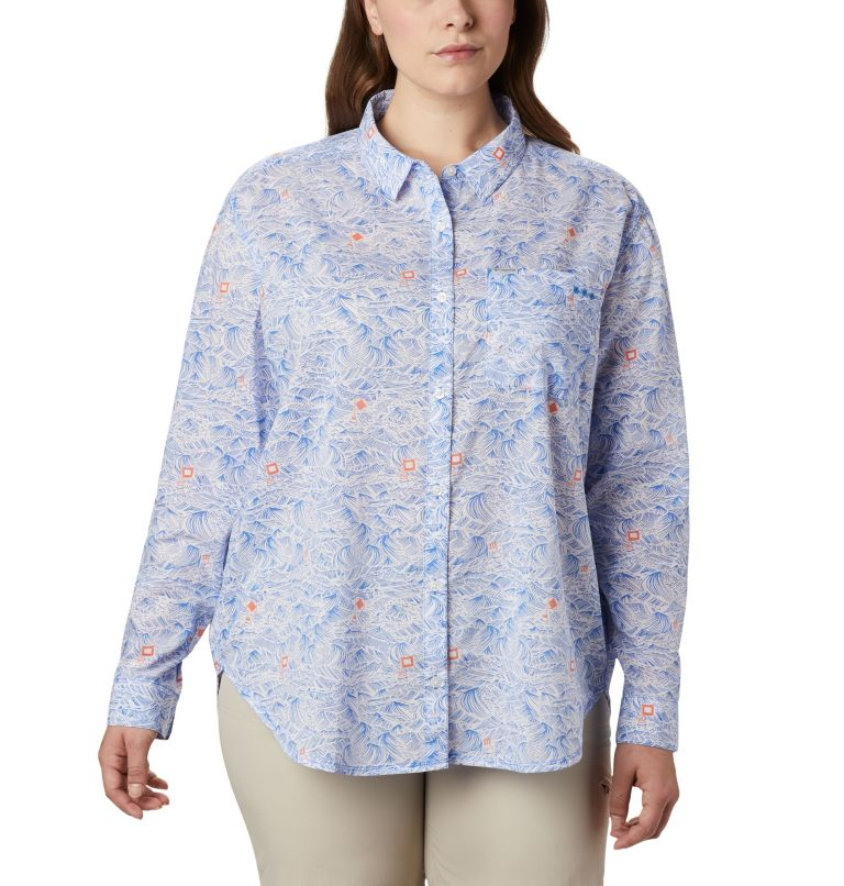 Sun Drifter™ II Long Sleeve Shirt | 426 | 1X Women's PFG Sun Drifter™ II Long Sleeve Shirt - Plus Size, Stormy Blue Buoy Waves Print, front