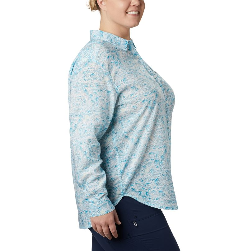 Sun Drifter™ II Long Sleeve Shirt | 450 | 1X Women's PFG Sun Drifter™ II Long Sleeve Shirt - Plus Size, Clear Water Buoy Waves Print, a1