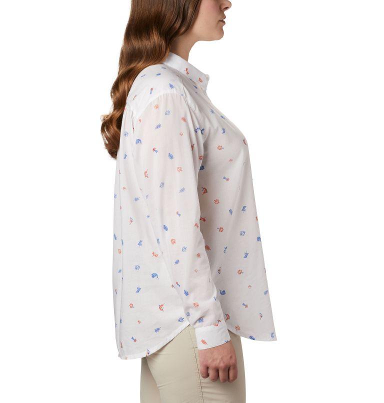 Sun Drifter™ II Long Sleeve Shirt | 869 | 1X Women's PFG Sun Drifter™ II Long Sleeve Shirt - Plus Size, Lychee Tossed Elements Print, a1