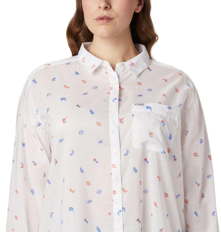 Sun Drifter™ II Long Sleeve Shirt | 869 | 1X Women's PFG Sun Drifter™ II Long Sleeve Shirt - Plus Size, Lychee Tossed Elements Print, a2